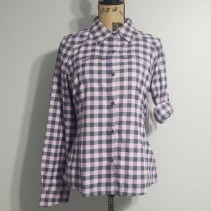 Sz M Shirt Columbia Silver Ridge Plaid UPF 30 NWT